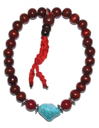 8 mm Rose Wood & Turquoise
