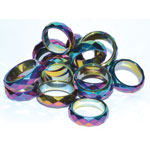 Rainbow Magnetic Hematite Faceted rings (50/bag)
