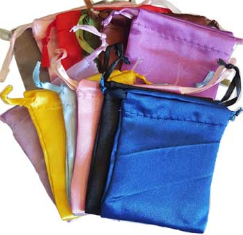 "12 pk 2 3/4"" x 3"" Satin pouches mixed colors"